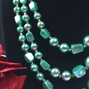 Vintage Jewelry - Vintage Japan Green AB Coated Beaded Necklace